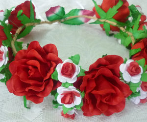 etsy, red rose, and flower headpiece image