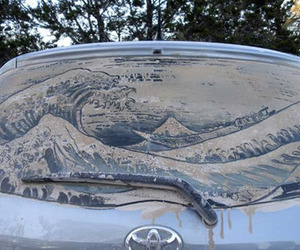 art, waves, and car image