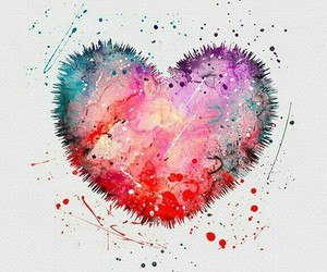 blue, watercolor, and heart image