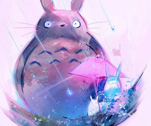totoro, art, and pink image