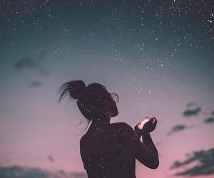 girl, stars, and sky image
