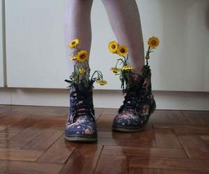 flowers, boots, and aesthetic image