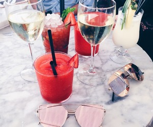 drink, sunglasses, and food image
