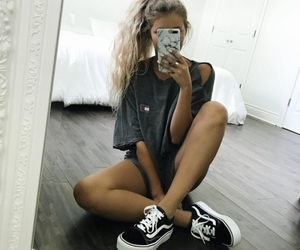 girl, mirror, and outfit image