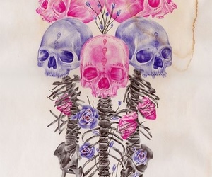 skull, art, and pink image