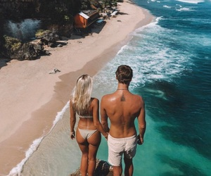 summer, couple, and beach image