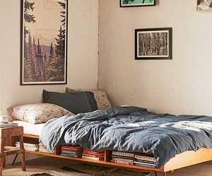 bed, bedroom, and platform bed image