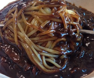 korean food, asian food, and black bean noodles image