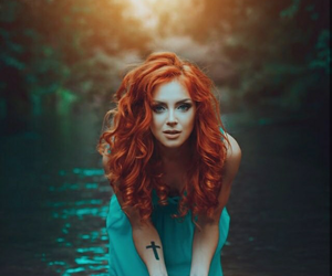 red hair and water image