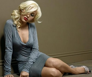 blonde, christina aguilera, and cleavage image