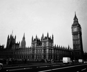 balck and white, city, and london image