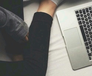 apple, laptop, and bed image