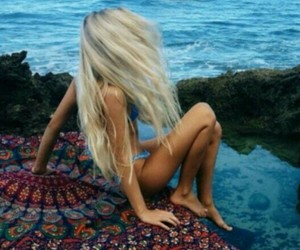 beach, relax, and blonde image
