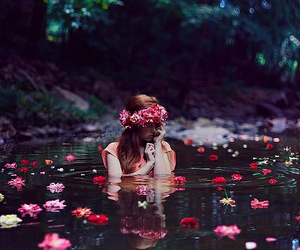 flowers, girl, and water image