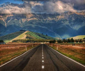 road, mountains, and new zealand image