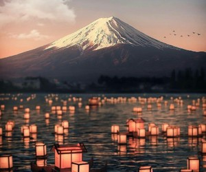 mountains, travel, and japan image