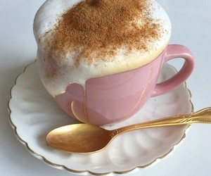 coffee, pink, and food image