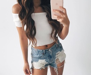 outfit, brunette, and casual image