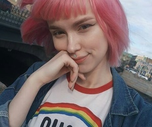 grunge, hair, and pink hair image