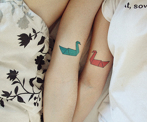 tattoo, origami, and couple image