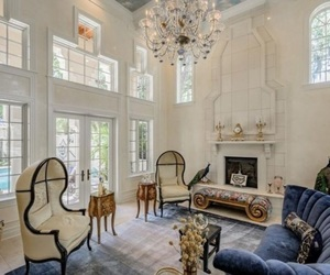 blue, chandelier, and decor image