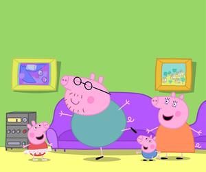 cartoon, pig, and wallpaper image