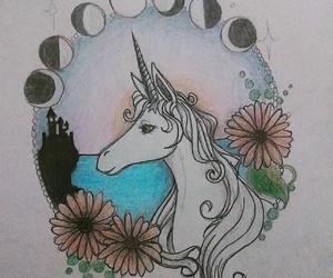 drawing, original art, and the last unicorn image