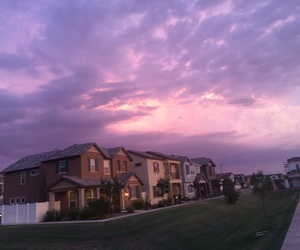 clouds, Houses, and pink image