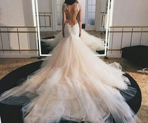 dress, wedding, and beauty image