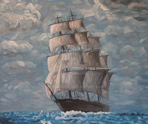 art, boat, and ocean image
