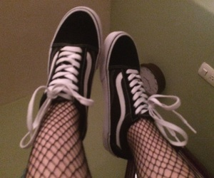 black, fishnets, and shoes image