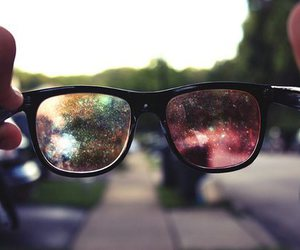 glasses, photography, and galaxy image