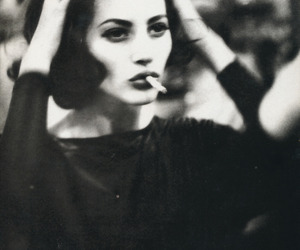 cigarette, woman, and black and white image