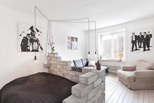 bed, design, and brick wall image