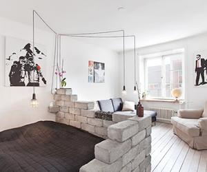 bed, brick wall, and design image