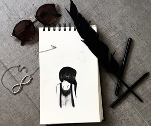 black, feather, and hair image