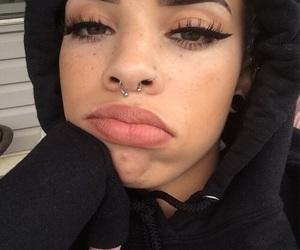 girl, makeup, and piercing image