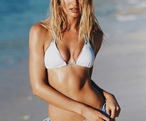 model, candice swanepoel, and beach image
