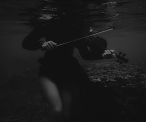 black and white, dark, and violin image