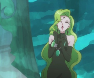 anime, crescent moon, and emerald image