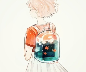art, girl, and fish image
