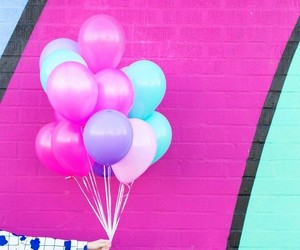 balloons, pink, and rainbow image