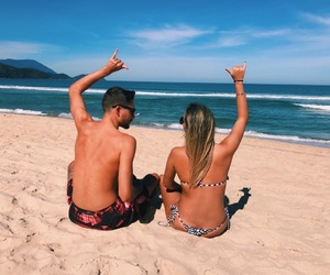 beach, cople, and surf image