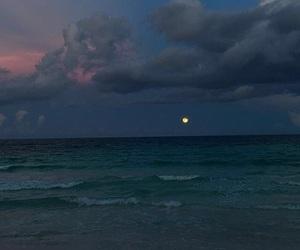 ocean, sky, and moon image
