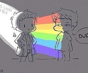 destiel, supernatural, and rainbow image