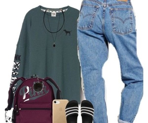 adidas, boyfriend jeans, and iphone image