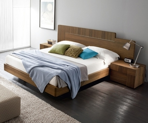 bed, wooden bed, and platform bed image