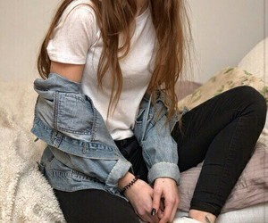 girl, grunge, and jeans image
