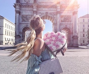 girl, flowers, and paris image