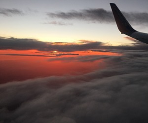 sky, sunset, and plane image